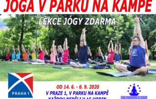 Lekce jogy zdarma v parku Na Kampe